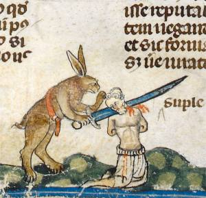 'The Smithfield Decretals' (Decretals of Gregory IX with glossa ordinaria), Tolouse ca. 1300, illuminations added in London ca. 1340 (British Library, Royal 10 E IV, fol. 61v)